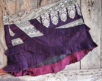 M, CORAL WAVES, Ruffle Skirt, Silk Sari, Tribal, Barocco tribal, Belly Dance, Burning man, Ruffle, Festival, Short skirt, mini,