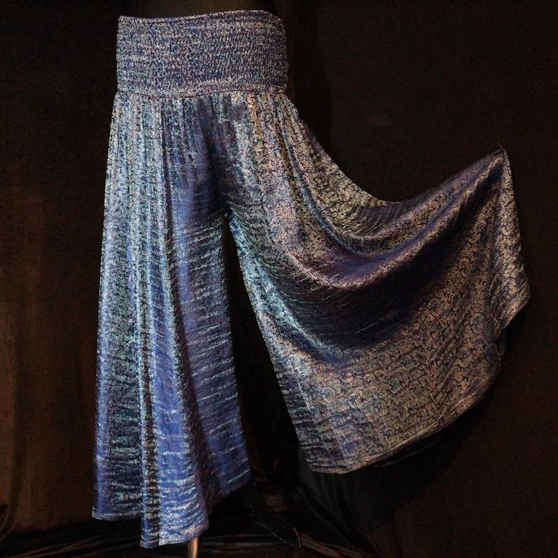 Burning Man Dance S ATS 35 Leg 24-36 Pantaloons Baggy pants Belly Dance Harem Pants Flow Pants Tribal OCEAN SHIMMER