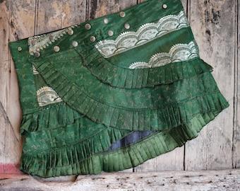 M, GREEN RAY, Silk Sari, Tribal, Barocco tribal, Belly Dance, Burning man, Ruffle, Festival, Short skirt, mini,