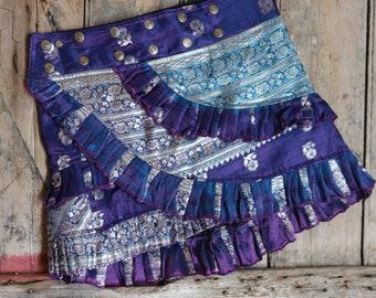 S, BLUE DAISY, Ruffle Skirt, Silk Sari, Tribal, Barocco tribal, Belly Dance, Burning man, Ruffle, Festival, Short skirt, mini,