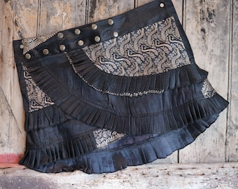 M, SOUND WAVES, Silk Sari, Tribal, Barocco tribal, Belly Dance, Burning man, Ruffle, Festival, Short skirt, mini,