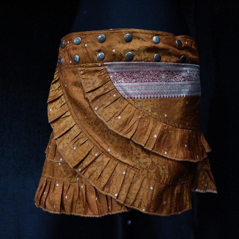 SAHARA 35-46 Mini Belly Dance Festival Belt, Short Ruffle Skirt Tribal Fusion Silk Sari M Hip Scarf Burning Man Short Skirt