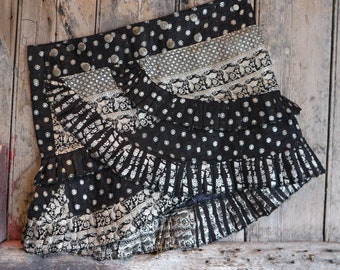 S, SHADOWS, Ruffle Skirt, Silk Sari, Tribal, Barocco tribal, Belly Dance, Burning man, Ruffle, Festival, Short skirt, mini,