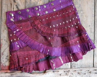 S, PURPLE RAIN, Ruffle Skirt, Silk Sari, Tribal, Barocco tribal, Belly Dance, Burning man, Ruffle, Festival, Short skirt, mini,