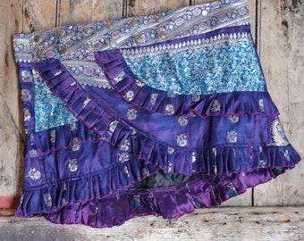 L,  MIST,  Ruffle Skirt, Silk Sari, Tribal, Barocco tribal, Belly Dance, Burning man, Ruffle, Festival, Short skirt, mini,