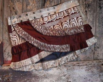 NEW! L-Xl, TEMPLE ARCH, Ruffle Skirt, Silk Sari, Tribal, Barocco tribal, Belly Dance, Burning man, Ruffle, Festival, Short skirt, mini,