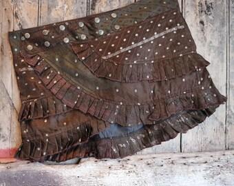 M, FOREST FAIRY, Ruffle Skirt, Silk Sari, Tribal, Barocco tribal, Belly Dance, Burning man, Ruffle, Festival, Short skirt, mini,