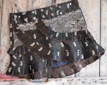 S, GYPSY MOON, Ruffle Skirt, Silk Sari, Tribal, Barocco tribal, Belly Dance, Burning man, Ruffle, Festival, Short skirt, mini,