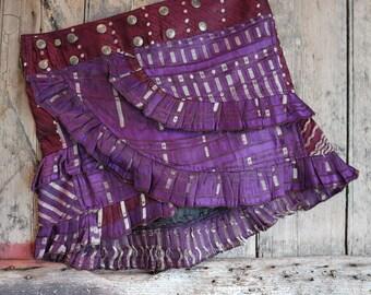 S, FAIRY TETRIS, Ruffle Skirt, Silk Sari, Tribal, Barocco tribal, Belly Dance, Burning man, Ruffle, Festival, Short skirt, mini,