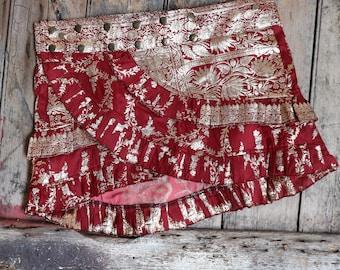M,WILD ROSE, Silk Sari, Tribal, Barocco tribal, Belly Dance, Burning man, Ruffle, Festival, Short skirt, mini,