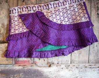 L-Xl, INDIGO GALAXY, Ruffle Skirt, Silk Sari, Tribal, Barocco tribal, Belly Dance, Burning man, Ruffle, Festival, Short skirt, mini,
