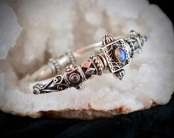 ISHANI BANGLE , Moon stone,  Antique style, Silver,  Rajasthani, Banjara, ATS, Ethnic, Tribal, Gypsy, Rare, Cuff, Kuchi, Bracelet