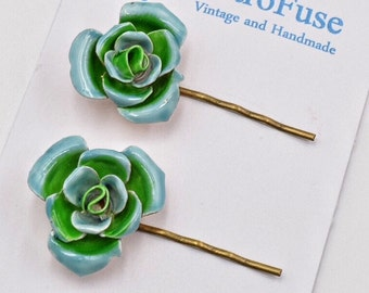 Flower hair pin, blue rose hair pins, 1960s vintage Coro earrings, green flower bobby pins,  enamel flower hair pins,  flower hair clip