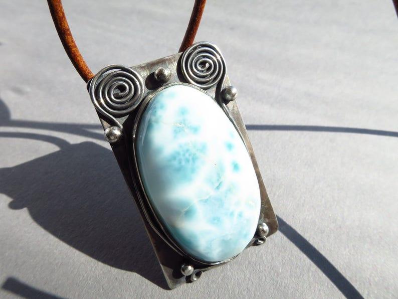 Blue Larimar Silver pendant silver  atlantis blue necklace 925 silver with birthstone october  gift present birthday girlfriend