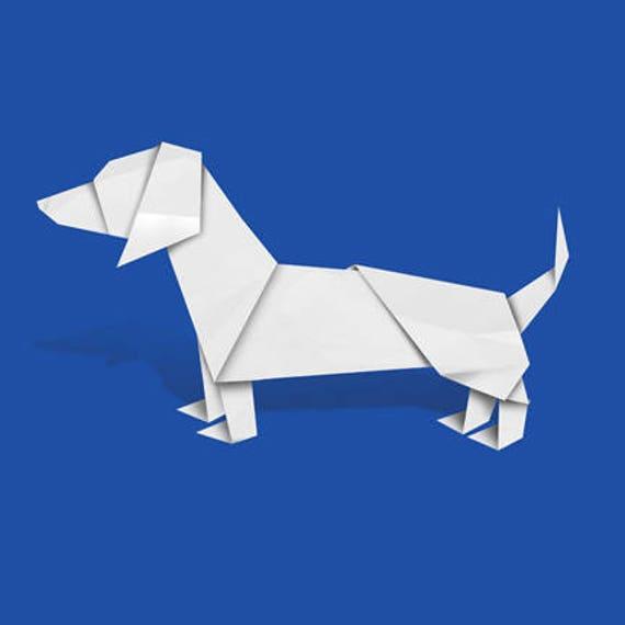 Dachshund Art Dog Art Print Of Origami Design Etsy