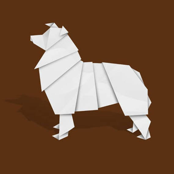 Printable DIY template (PDF). Dog 3 low poly paper model template ... | 570x570