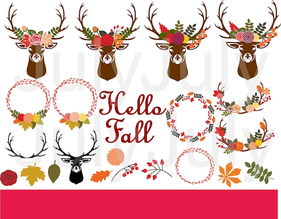 Download Fall Floral Antlers Cut File DXF
