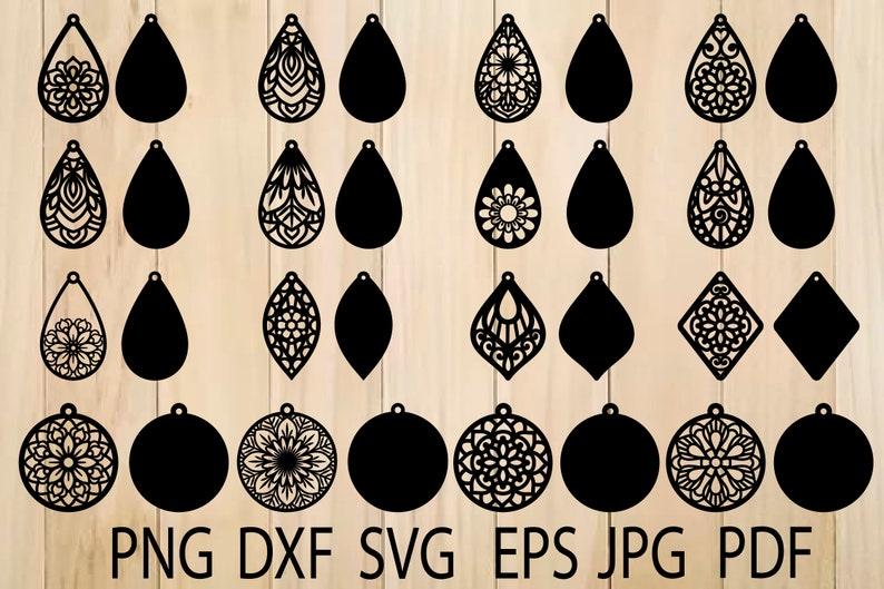 Earrings SVG Mandala Earring SVG Earrings Template Teardrop image 0