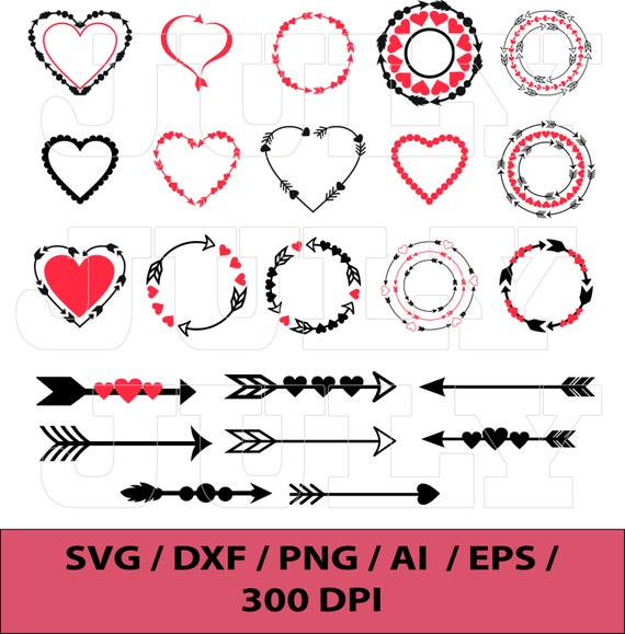 Heart Svg Valentines Day Circle Monogram Frames Heart Etsy