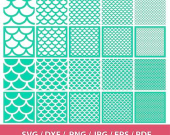 Shell Pattern SVG, Scallop Pattern svg, Mermaid Pattern svg, dxf, png, eps, pdf, jpg, Fish scale pattern, Seamless Pattern, Scallop Vector