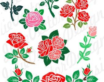 Roses SVG, Floral svg, Flower SVG cut File, Flower svg, Roses Vector File, Roses Clip Art, svg, dxf, png, ai, eps, Roses svg Cut