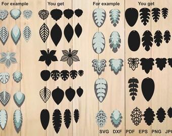 Leaf Earrings svg, Teardrop Earrings, Earrings Template, Tear Drop SVG, Tear Drop Cut File, Pendant, Jewelry Laser Cut Template