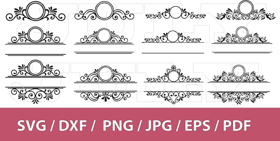 70 Off Mailbox Monogram Frame Svg Flourish Svg Swirl Svg Etsy