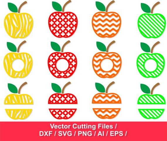 Apple Monogram Frames Svg Cut Files Apples Svg Svg Dxf Etsy