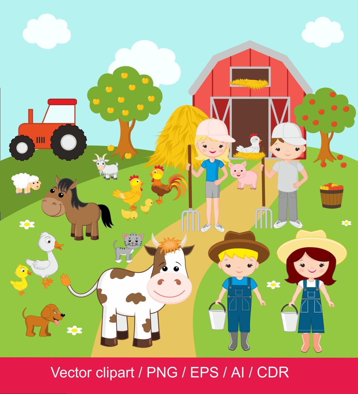 Farm Clipart / Farm digital clip art / barnyard clipart ...Clip Art Pictures Of Farm Animals