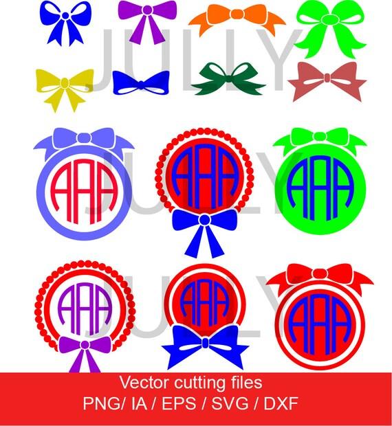 Bow Svg Cut Files Ribbon Monogram Frame Bow Monogram Etsy