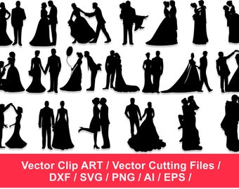 Silhouette Clipart,  Couples Silhouettes, Lovers Silhouettes, Cupid Silhouettes, Wedding Silhouettes Clip Art, bridal silhouettes