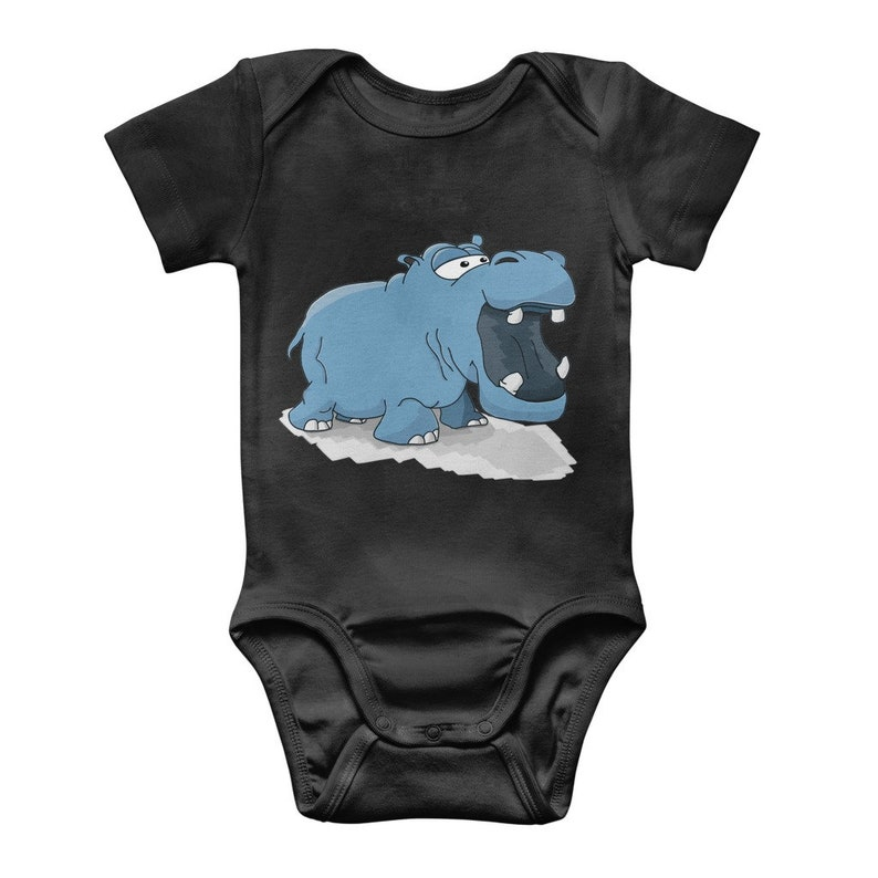 Bodysuit Baby Gift Classic Baby One Piece Hippo Infantwear Baby Shower 8 Colors Available