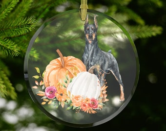 Fall Doberman Glass  Keepsake Window Ornament Suncatcher