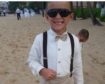 Boys linen suit. Beautiful ring bearer outfit. Boy special occasion wear in linen. Boys weeding outfit, bow tie. Suspenders (separately)