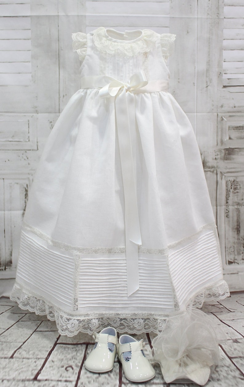 Baptism Lace ceremony gown ivory linen. Christening gown made in ... b5a1440ecc1