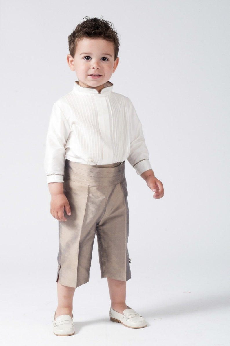 Ring bearer boy's suit. Taupe silk 3/4 pants. With matching image 0