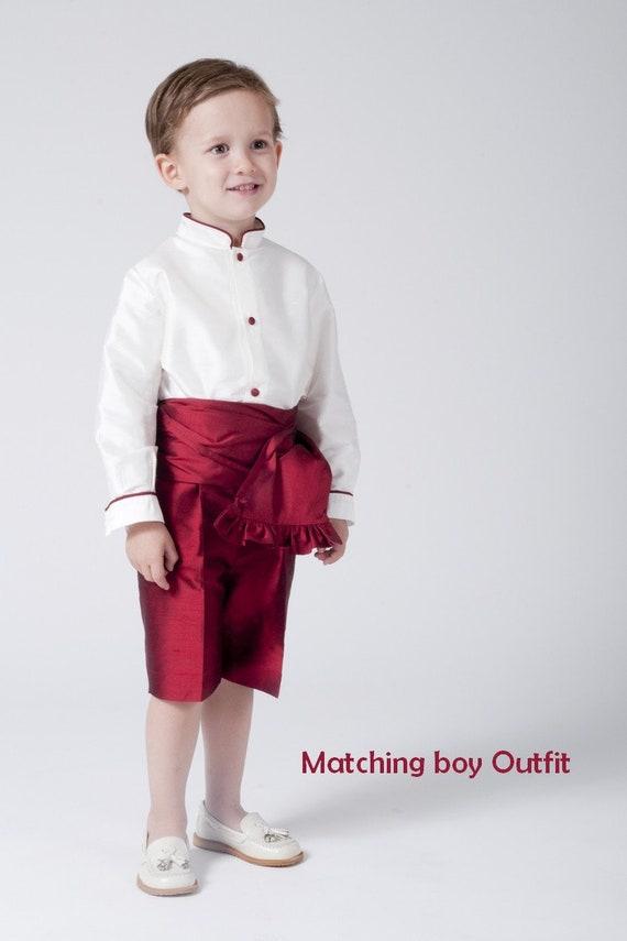Vestido De Niña Para Boda Ceremonia En Seda Granate Con Adornos En Marfil Vestido Arras Damita De Honor Para Niñas Moda Infantil Española