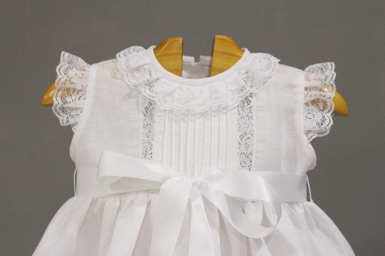ebcf23f46 Vestido faldon de bautizo cristianar para bebes en lino blanco