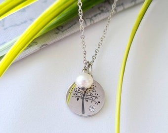 Steel necklace, tree of life, white freshwater pearl, zircon, woman gift, girl gift, handmade in Quebec