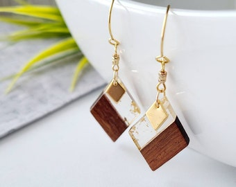 Wooden earrings- gold-steel-steel-gift-handmade in Quebec