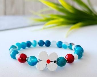 Children's bracelet, handmade, turquoise agate stone, wooden flowers, handmade in Quebec, gift child, gift girl