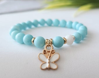 Child bracelet, handmade, colorful Jade stones, butterfly charm, made in Quebec