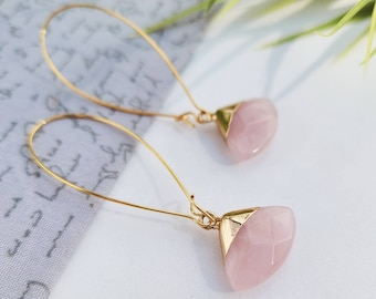 Earrings in Quartz rose-gold filled 22k-handmade in Quebec-gift-fine stones-quality jewelry
