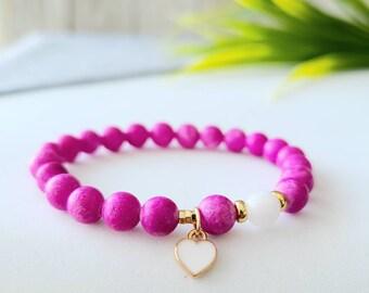 Bracelet child, teen, girl. handmade, colored Jade stones, enamel heart charm, made in Quebec