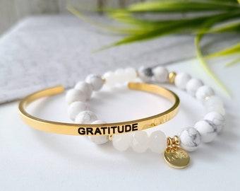 Set of 2 bracelets -gratitude-stones of howlite-bracelet steel cuff-Love-