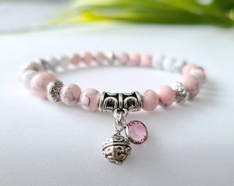 Bracelets of semi-precious stones, howlite 6mm handmade in Quebec, craftsman, Quebec jewelry, pink Swarovski crystal,