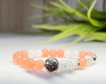 Child bracelet, handmade in Quebec, ladybug charm, made of colorful jade stones, child gift, girl gift