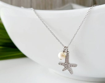 Starfish pendant-quality jewelry -silver .925-freshwater pearl-woman gift-girl gift- handmade in Quebec