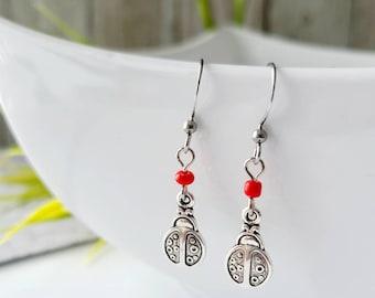 Children's earrings - handmade in Quebec-gift girl-lady-lady bug