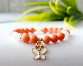 Jade stone child bracelet tangerine-gift girl-handmade-butterfly-made in Quebec